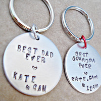 Personalized Best Dad, Daddy, Grandpa, Pop Pop Hand Stamped Key Ring - Father's Day Gift - Custom Key Ring - Choose Font and Ring Color