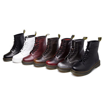 Big Size 10~13 Real Leather Martins Men Women Boots Snow Boots Military Girls for Casual Walking Shoes Winter Femme Bota 2016