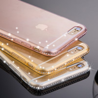 Fashion Soft TPU Clear Case For iPhone 6 6S For iPhone 6 Plus / 6S Plus Light Color Slim Diamond Crystal Accessories Cover i6/6S