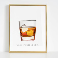 Make Mine a Double Printable Art Bar Decor party Decorations Old Fashioned Cocktail Whiskey Cocktail Kitchen Wall Art Whiskey Made Me Do It