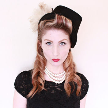1930s Hat / VINTAGE / 30s Hat / Stovepipe Style / Feathers / RARE / Ninotchka Hat