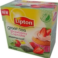 Lipton Green Tea - Strawberry Cupcake - Premium Pyramid Tea Bags (20 Count Box) [PACK OF 3]