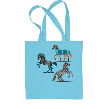 Native American Horses Southwest Shopping Tote Bag