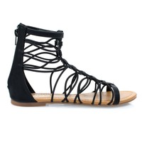 Ombre Black Pu By Soda, Ankle High Elastic Gladiator Strap Flat Sandal w Closed Heel Counter