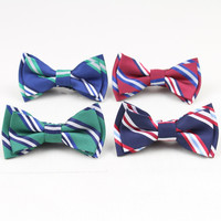 High Quantity Children Double Layer Cotton Bow Tie Kid Classical Striped Bowties Colorful Butterfly Dog Cat Pet Bowtie Ties