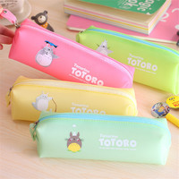 Cute Jelly color pen case Totoro pencil bag for stationery estuche lapices Material escolar Stationery Office school supplies