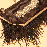 Only one!! Rare, Vintage, new 100% hand made, Lux Black Hand Beaded Fringes Clutch, Evening Bag#20