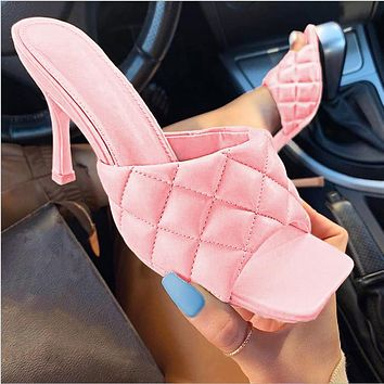 2020 high heels square new spring and summer style stiletto sandals and slippers white