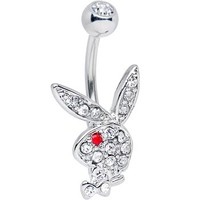 Licensed Clear Gem and Red Gem Eye Playboy Bunny Belly Ring | Body Candy Body Jewelry