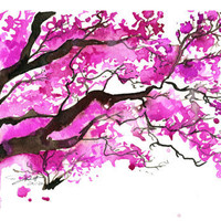 $25.00 Watercolor Japanese Cherry Blossom Tree by JessicaIllustration