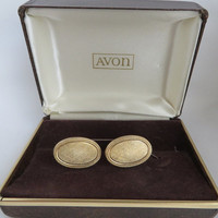Vintage AVON Gold Tone Cuff Links, Men's Cuff Links, Formal Wear, Man Gift