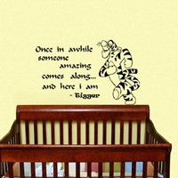 Housewares Vinyl Decal Winnie the Pooh Quote Once in Awhile Someone Amazing Comes Along and Here I Am Tigger Home Wall Art Decor Removable Stylish Sticker Mural Unique Design for Room Baby Kid Nursery