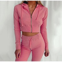 felainse29 hot style women's hooded long-sleeved slim sports and leisure suit
