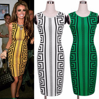 Aztec Tribal Print Green Sexy Body Con Sleeveless Trendy Pencil Dress Celebrity Inspired