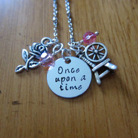 """Disney Inspired Princess Aurora Necklace. """"Once Upon A Time"""" Sleeping Beauty. Silver colored, Hand Stamped, Swarovski crystals FREE shipping"""