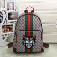 """""""Gucci"""" Unisex Casual Personality Fashion Classic Print Multicolor Stripe Cat Head Embroidery Backpack Large Capacity Travel Double Shoulder Bag"""