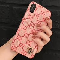 GUCCI Fashion New More Letter Leather Case IPhone Couple Protective Cover Phone Case Pink