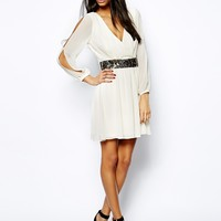 Lipsy Wrap Front Skater Dress with Embellished Waist