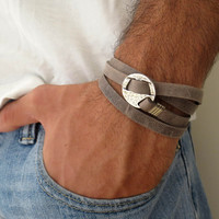 Men's Bracelet - GrayLeather Bracelet With Silver Circle Element - Men's Jewelry - Geometric Jewelry - Gift for Him