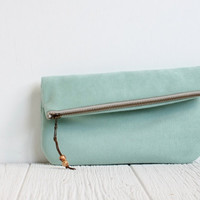 Fold Over Vegan Clutch in Mint
