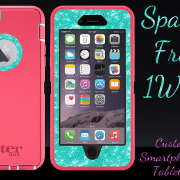 """iPhone 6 OTTERBOX Case - Otterbox Defender Glitter Case for 4.7"""" iPhone 6 - Pink/Wintermint Glitter Sparkly Cute New iPhone 6 Protector"""