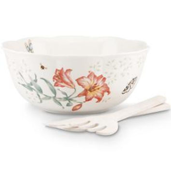 Butterfly Meadow® 3-Piece Salad Bowl with Wooden Servers by Lenox