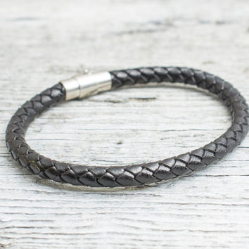 Black braided leather bracelet with magnetic clasp, mens bracelet, womens bracelet