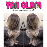 """Dark Ash Brown Silver Gray Balayage Halo Flip In Hair Extensions, 100% Cuticle Remy, 20"""""""