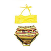 Retro Style Yellow Bow Top & Tribal High Waist Bikini! Kids Swimwear!