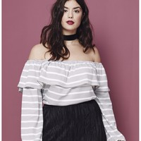 Simply Be Stripe Ruffle Off The Shoulder