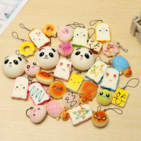 New 10PCS Medium Random Squishy Soft Panda Bread Cake Buns Macaroon Phone Straps Key Chains Mixed