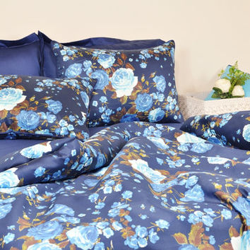 Navy Blue Floral Duvet Cover in Twin Twin XL Full Queen King Size - Ocean Blue Rose Print Cotton Sateen Fabric - Floral Shabby Chic Bedding