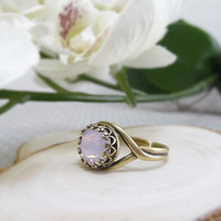 Pink Opal Ring Vintage Style, Rose Water Opal Swarovski Crystal Ring, Bridesmaid Gift, Cocktail Ring, Opal Rings for Women, Pale Pink Ring