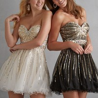 Night Moves 7201 Sparkly Strapless Tulle Dress