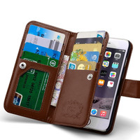 For Iphone 6 6S Leather Case Luxury Vintage Flip Card Slot Cover For Iphone 6 6S Plus Women Light Wave Hand Wallet Phone Bags
