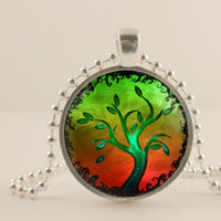 "Red and lime green tree, 1"" round glass and metal Pendant necklace Jewelry."