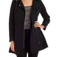 Black Wool-Blend Moto Trench Coat by Charlotte Russe