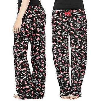 Licensed cool NEW  Hello Kitty Bow Tie SUPER PLUSH Pajamas Lounge Pants Fuzzy Pant Soft Sanrio