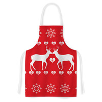 "Suzanne Carter ""Christmas Deer 2"" Holiday Pattern Artistic Apron"
