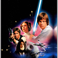 Star Wars 1977 on Premium Canvas 27 X 70 Gallery Wrapped Ready for Framing