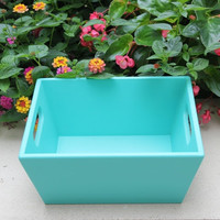 Large turquoise wood basket with handles, hand-painted with Annie Sloan chalk paint
