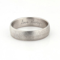 Love Always Fingerprint Ring - Sterling Silver Engraving Wedding Band - 6mm, satin finish, letter engraving, inscription.