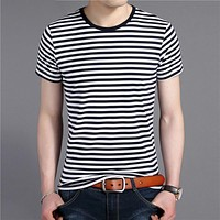 Men Streetwear Fashion Navy Striped O-Neck Tshirt Summer Short Sleeve T-Shirt Men Cotton Tee Shirt Homme