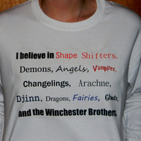 Supernatural Winchesters And Monsters Long Sleeved T-Shirt. Customize To Size And Color.
