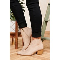 Enjoy The Moment Suede Western Booties (Taupe)