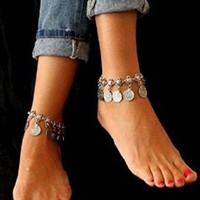 Boho Gypsy Turkish Coin Ankle Bracelet Anklet Ships From USA