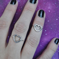 Silver Heart Midi above the knuckle ring Sterling silver wire