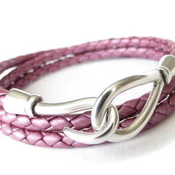 Braided leather wrap bracelet in metallic berry with hook and eye clasp, 3x wraparound bracelet for women, leather fashion for women