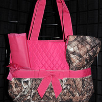 Machine Embroidered Quilted Diaper Bag- Camo, Pink Trim.. Includes FREE personal embroidery.
