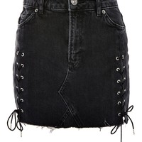 MOTO Lace Up Denim Mini Skirt - Skirts - Clothing